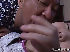 Alluring Asian teen sweetie Marin Aono gets taunted by nasty old boy while she is ing. The boy starts to smooch and lick all her fresh youthful body and lovely pussy. The appetizing lady shows him here skills, sucking his cock in kinky 69 position, and ge