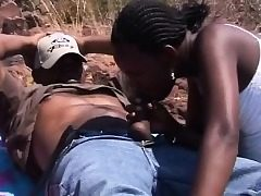 African Dark-hued Teens Dt Outdoors Fourway