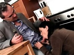 Hotty is getting her vagina ravished by teacher on the sofa