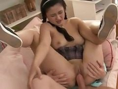 Russian teenager tart gets double pounded