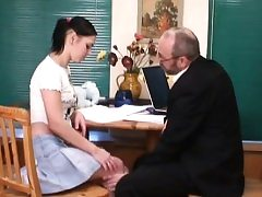 Old teacher is pleasuring lovely babe's wet violate