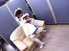 Nice Chinese teenager in pantyhose gets her cock-squeezing cooter dri