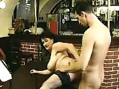 Brown-haired in stockings sucks yam-sized knob and pulverizes it
