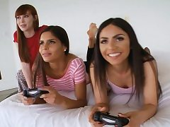 Stepbrother pounds gaming step-sister and her taut buddies