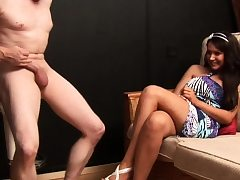 CFNM babe commands sub stud to unwrap naked