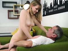 Grandfather tongues and tears up a blonde Hungarian teen hottie