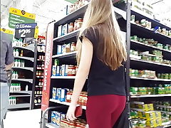 Candid spycam Blasted by tight blonde nubile at Walmart backside