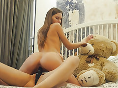 Lesbian college roomies strapon dildo bang-out with otter bear