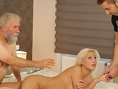 Whorey nubile makes enjoy with beau's father on her birthday