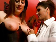 2 sexy mature girls are about to have some joy with each other