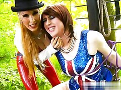 Ultra-kinky chicks clothed for 4th of July sexually abusing a fellow in the woods